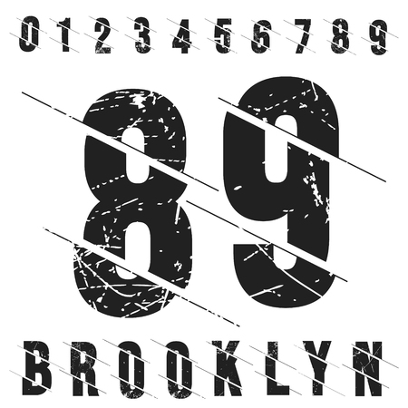 Vintage numbers t-shirt stamp. Grunge textured number 0 1 2 3 4 5 6 7 8 9