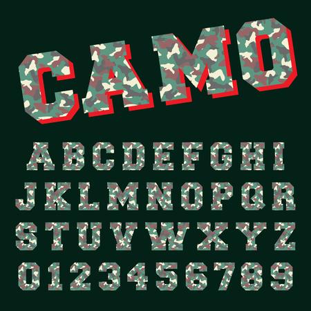 Camo alphabet font template. Letters and numbers army camouflage design. Vector illustration. Ilustração