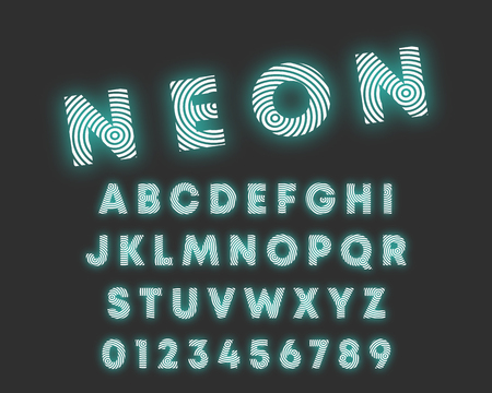 Circular line alphabet font. Letters and numbers neon design