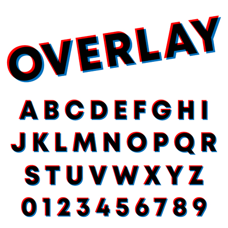 Alphabet font template. Letters and numbers overlay design