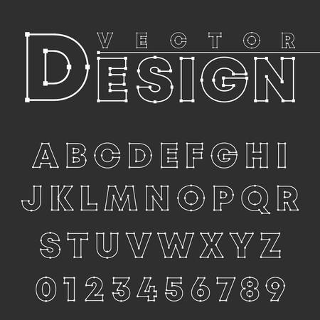 Vector design alphabet font template. Letters and numbers line design Ilustração