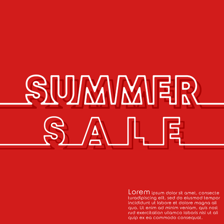 Summer Sale banner template. Minimal line design background for typography, printing products, flyer, brochure covers. Vector illustration. Ilustrace
