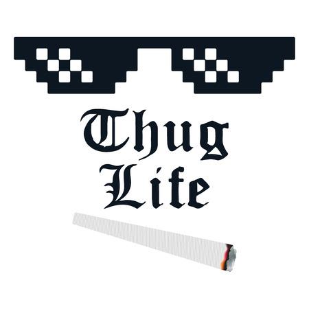 Thug life meme with glasses and cigarette Ilustração