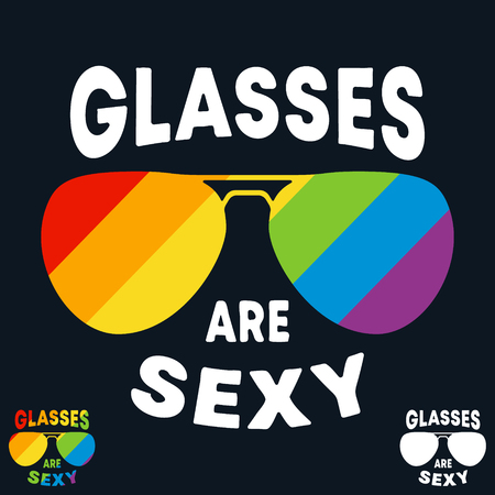 Glasses are sexy t-shirt print. Minimal design for t shirts applique, fashion slogan, badge, label clothing, jeans, and casual wear. Vector illustration. Ilustração