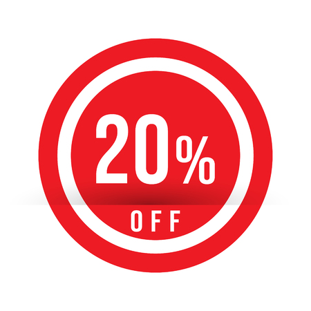 20 percent off - red sale stamp - special offer sign. Vector illustration. Ilustração