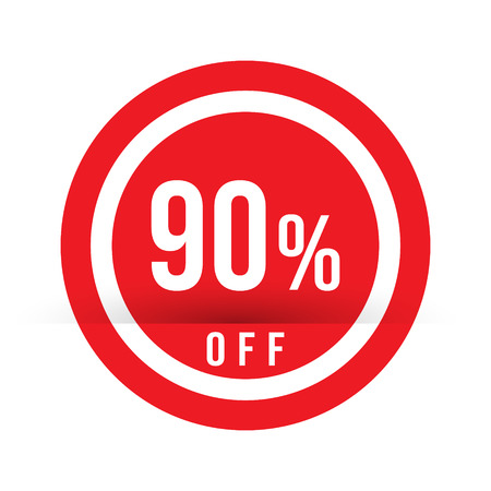 90 percent off - red sale stamp - special offer sign. Vector illustration.