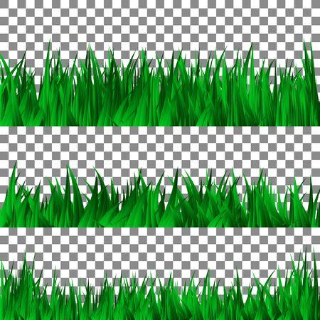 Set of green grass template. Vector Illustration. Vettoriali