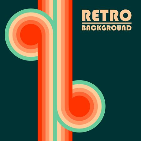 Retro design background with colored twisted stripes. Vector illustration.