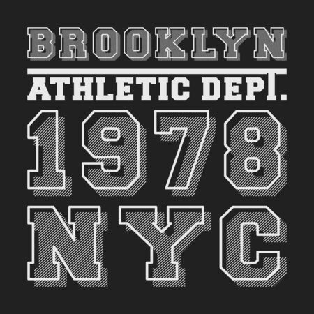Brooklyn NYC t-shirt print for applique, badge, label clothing, jeans, t-shirts stamp, and casual wear. Vector illustration.