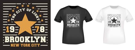 Brooklyn Star t-shirt print for t shirts applique, fashions slogan, tee badge, label, tag clothing, jeans, and casual wear. Vector illustration.