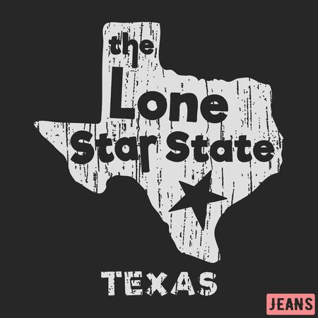 T-shirt print design. Texas - the lone star state vintage stamp. Printing and badge, applique, label, tag t shirts, jeans, casual and urban wear.