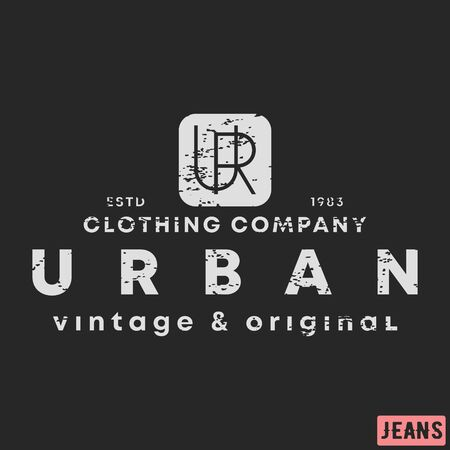 T-shirt print design. Urban clothing vintage stamp. Printing and badge, applique, label, tag t shirts, jeans, casual and urban wear. Vector illustration. Ilustracja