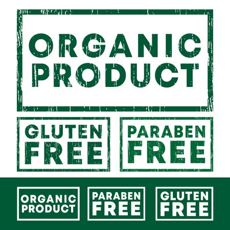 Set of Organic product, Gluten and Paraben free stamp with grunge texture and clear design. Vector illustration. Ilustracja