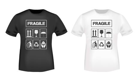 Fragile t-shirt print for a badge, label clothing, tee tag, t shirts applique, jeans, and casual wear stamp. Vector illustration.