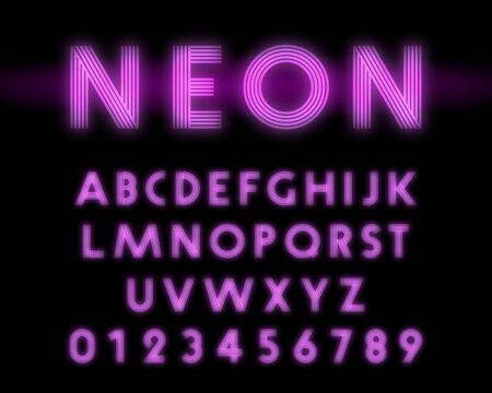 Fuente de alfabeto de neón retro. Diseño de línea de letras y números.