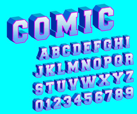 Comic alphabet template. Letters and numbers halftone design. Vector illustration.