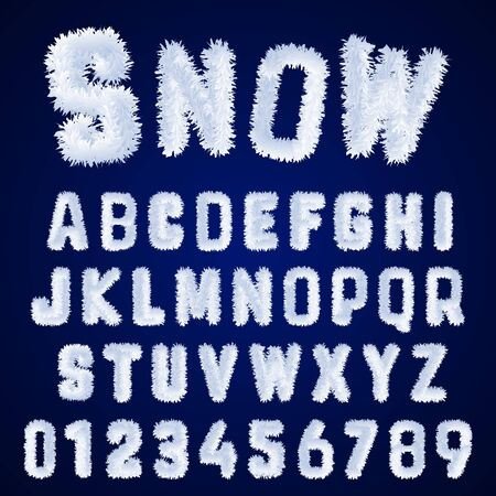 Snow alphabet template. Letters and numbers white frost design. Vector illustration.
