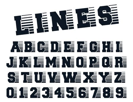 Lines alphabet template. Letters and numbers line design. Vector illustration. Ilustracja