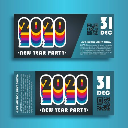 Modern banners set for New Year party 2020. Vector illustration. Ilustracja