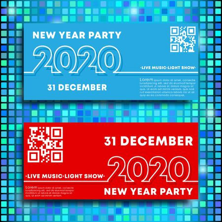 New Year party 2020 banners minimal line design set. Vector illustration.