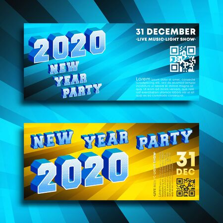 New Year party 2020 banners gradient design set