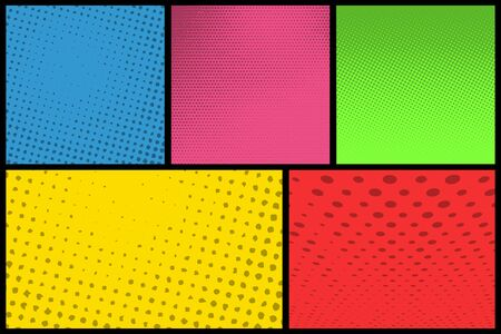 Comic book page background template with halftone pattern design