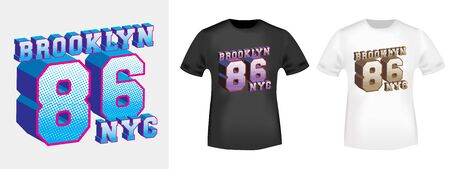 Brooklyn 86 NYC t-shirt print for t shirts applique, tee badge, label, clothing tag, jeans, and casual wear. Vector illustration.