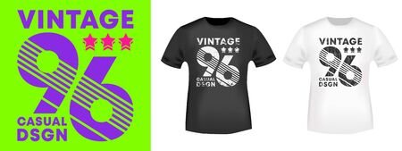 Vintage number 96 t-shirt print for t shirts applique, tee badge, label, clothing tag, jeans, and casual wear. Vector illustration. 일러스트