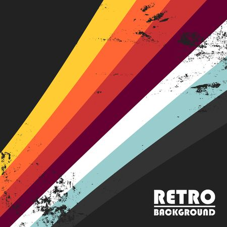 Retro background with colorful stripes and vintage grunge texture. Vector illustration