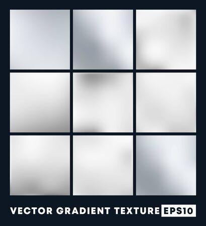 Set of silver gradient texture pattern background. Vector illustartion.