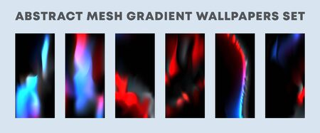 Set of colorful gradient wallpapers, backgrounds for smartphone screen, flyer, poster, brochure cover, typography or other printing products. Vector illustration.