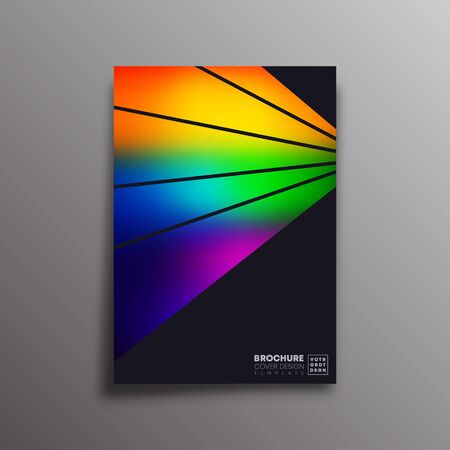 Retro design poster with colorful gradient rays for flyer, brochure cover, vintage typography, background or other printing products. Vector illustration Banque d'images - 131733257