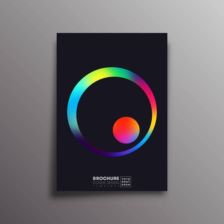 Retro design poster with colorful gradient circle for flyer, brochure cover, vintage typography, background or other printing products. Vector illustration