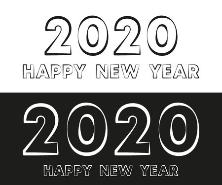Happy New Year 2020 text typography design for holiday flyer, greeting, invitation card, flyer, poster, brochure cover or other printing products. Vector illustration. Иллюстрация