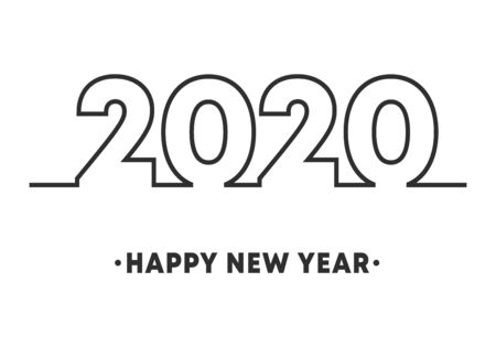 Happy New Year 2020 minimal line design for holiday flyer, greeting, invitation card, flyer, poster, brochure cover or other typography. Vector illustration.