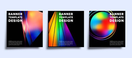 The banner template set with colorful gradient shapes. Vector illustration. Фото со стока - 135040852