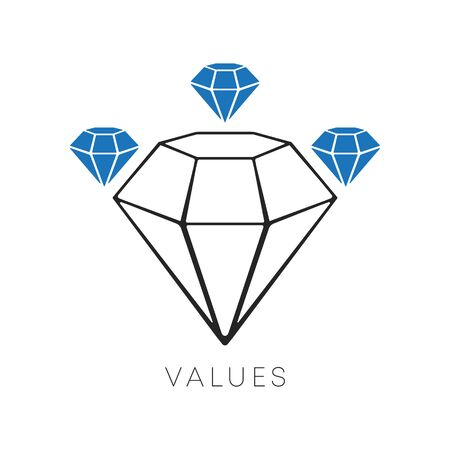 Diamond icon minimal line design. The values symbol isolated on a white background. Vector illustration.