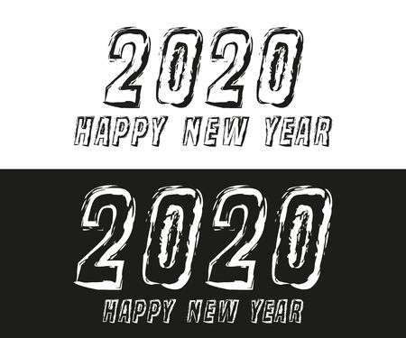 Happy New Year 2020 text typography design for holiday flyer, greeting, invitation card, flyer, poster, brochure cover or other printing products. Vector illustration. Фото со стока - 135040873