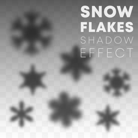 Snowflakes shadow overlay effect on transparent background. Vector illustration.