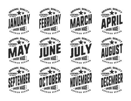 Nacen las leyendas: tipografía de camiseta vintage para una insignia, etiqueta, camiseta con aplicación, sello con estampado de camiseta, ropa con parche, jeans o ropa casual. Ilustración vectorial