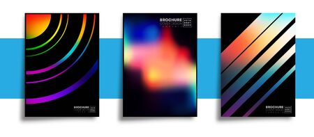 Set of abstract design posters with colorful gradient textures for wallpaper, flyer, poster, brochure cover, typography or other printing products. Vector illustration Фото со стока - 135224662