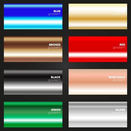 Multicolor gradient texture set. Various color backgrounds. Vector illustration