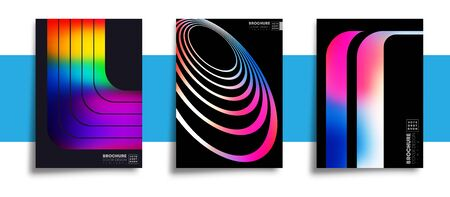 Set of abstract design posters with colorful gradient textures for wallpaper, flyer, poster, brochure cover, typography or other printing products. Vector illustration Иллюстрация
