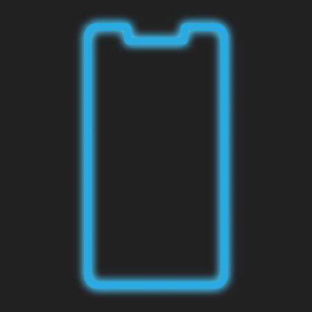 Smartphone line frame blue neon design for mobile phone screen, wallpaper, background. Vector illustration.