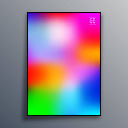 Poster template design with colorful gradient texture for wallpaper, flyer, placard, brochure cover, typography or other printing products. Vector illustration. Фото со стока - 136688416