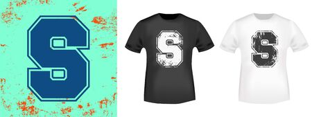 Letter S retro t-shirt print stamp for tee, t shirts applique, vintage fashion, badge, label clothing, jeans, and casual wear. Vector illustration.