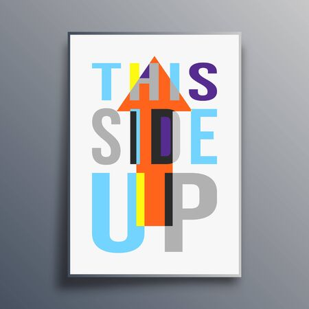 This Side Up poster abstract design. Vector illustration.
