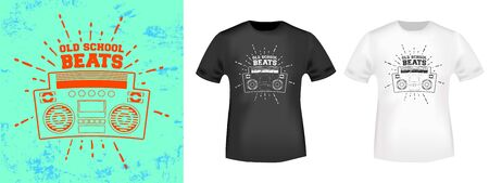 Retro stereo boombox t-shirt print stamp for tee, t shirts applique, vintage fashion, badge, label clothing, jeans, and casual wear. Vector illustration. Иллюстрация