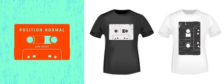 Compact cassette retro t-shirt print stamp for tee, t shirts applique, vintage fashion, badge, label clothing, jeans, and casual wear. Vector illustration. Иллюстрация