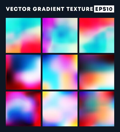 Colorful gradient texture pattern set for the background. Vector illustration.
